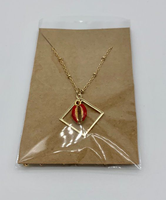 Collier coquillage rouge 2